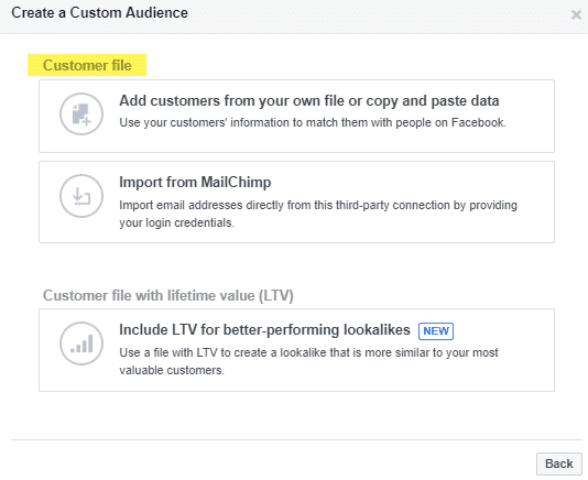 Customer File Re marketing Custom Audience customer list 1