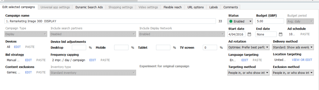 Campaign Settings Google Ads Editor