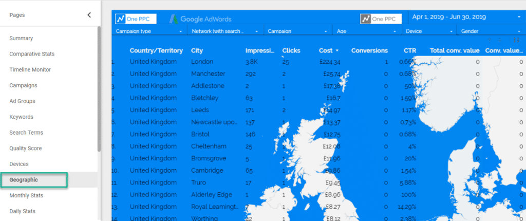 Google Ads data studio Template Geographic 10
